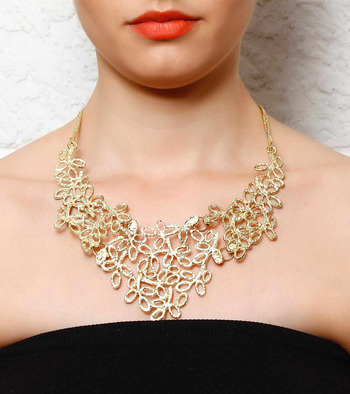 Gold Stencil Leaves Collar Necklace