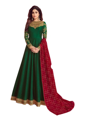 green embroidered dupion silk salwar