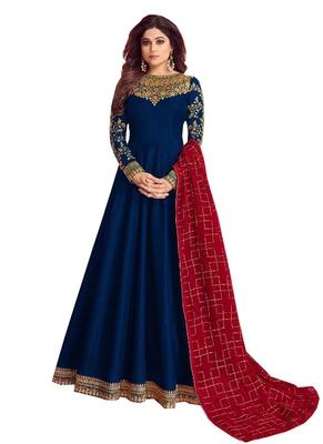 blue embroidered dupion silk salwar