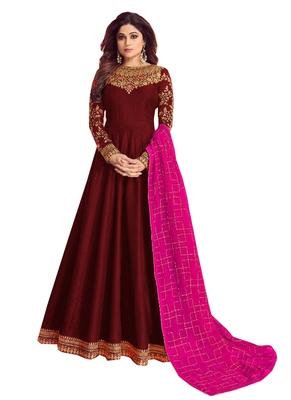 maroon embroidered dupion silk salwar