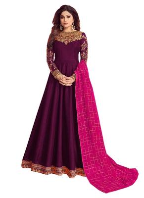 purple embroidered dupion silk salwar