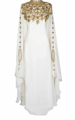 OFF WHITE embroidered georgette islamic-kaftans