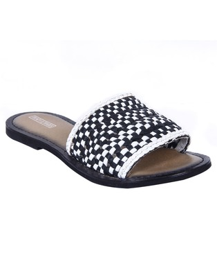Trends & Trades Womens Hand-Woven Laser Cut Genuine Black Leather Flats