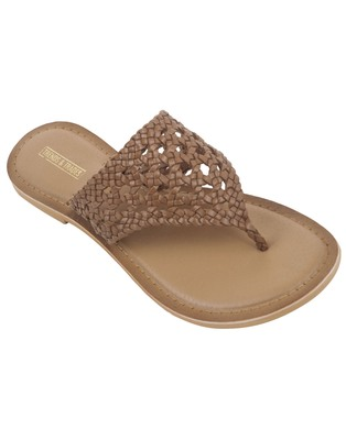 Trends & Trades Womens Hand-Woven Genuine Tan & Gold Leather Flats