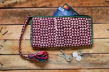 Cotton Batik Zip Wallet