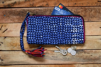 Cotton Batik Zip Wallet