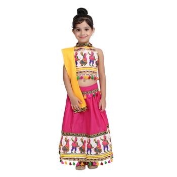 Pink Black Dandiya Border Plain Cotton Chaniya Choli