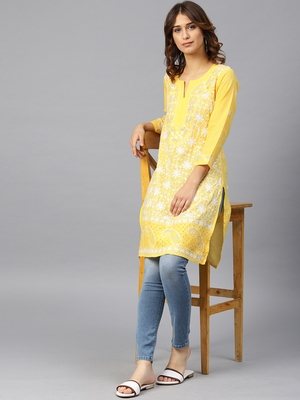 Lemon hand woven cotton chikankari-kurtis