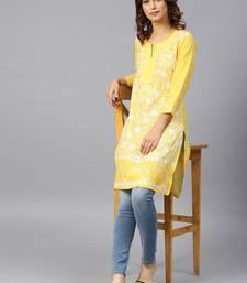 Lemon hand woven cotton chikankari-kurtis