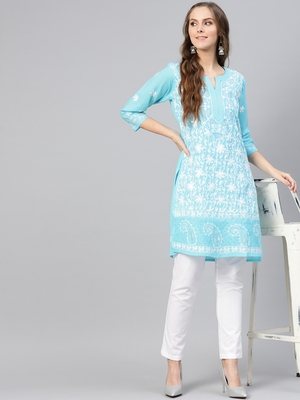 Sky-blue hand woven cotton chikankari-kurtis