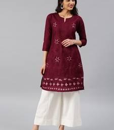 Maroon hand woven cotton chikankari-kurtis