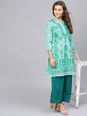 Sea-green hand woven cotton chikankari-kurtis