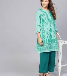 Sea-green hand woven cotton chikankari-kurtis
