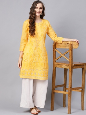 Yellow hand woven cotton chikankari-kurtis
