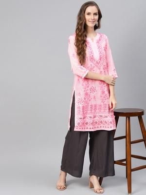 Baby-pink hand woven cotton chikankari-kurtis