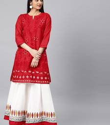 Red hand woven cotton chikankari-kurtis