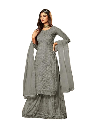 Grey beads net salwar