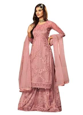 Pink Beads Net Salwar