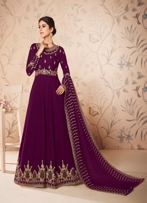 Dark-magenta embroidered georgette salwar