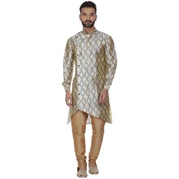 Beige printed brocade silk men-kurtas