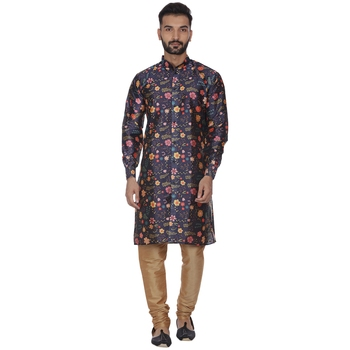 Blue Printed Brocade Silk Men Kurtas