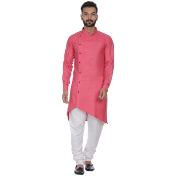Pink plain cotton men-kurtas
