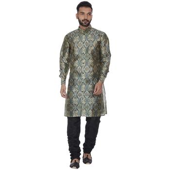 Green printed brocade silk men-kurtas