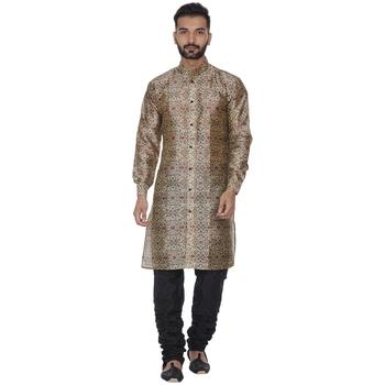 Brown printed brocade silk men-kurtas