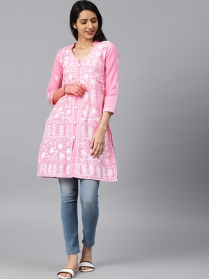 Onion-pink hand woven cotton chikankari-kurtis
