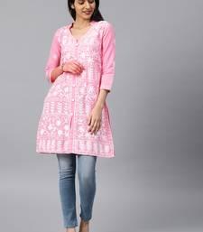 Onion-pink hand woven cotton chikankari-kurtis