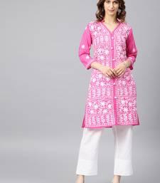 Dark-pink hand woven cotton chikankari-kurtis