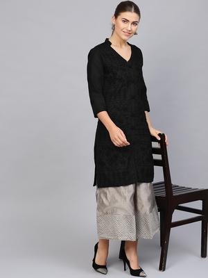 Black hand woven cotton chikankari-kurtis