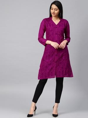 Dark-raspberry hand woven cotton chikankari-kurtis