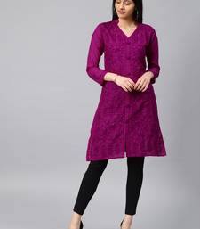 Dark-raspberry hand woven cotton chikankari-kurtis
