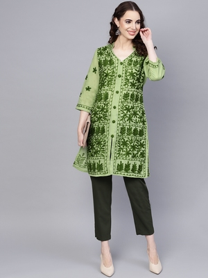 Light-green hand woven cotton chikankari-kurtis