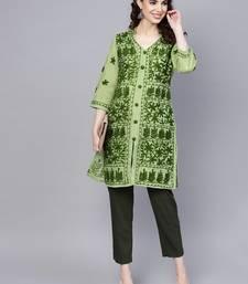 Light-green hand woven cotton chikankari-kurtis