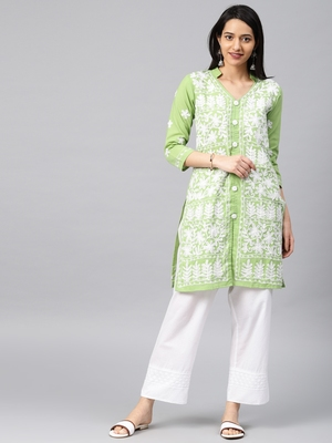 Parrot-green hand woven cotton chikankari-kurtis