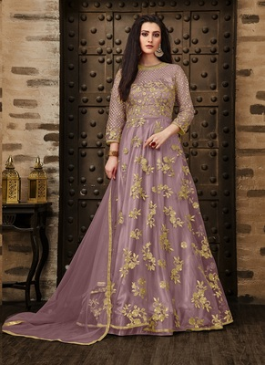 Lilac embroidered net salwar