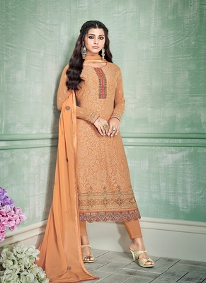 Orange embroidered georgette salwar