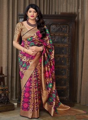 dark magenta woven banarasi silk saree with blouse