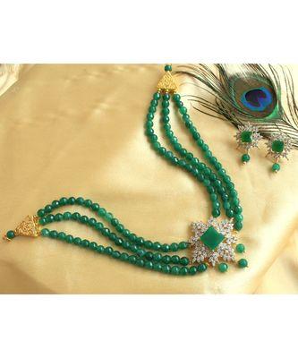 Beautiful Cz White Emerald Agates Multi Layer Designer Choker Necklace Set