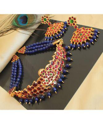 Beautiful Kemp Green Blue Agates Designer Necklace Set
