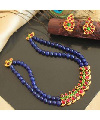 Beautiful Kemp Green Blue Agates Mango Designer Necklace Set