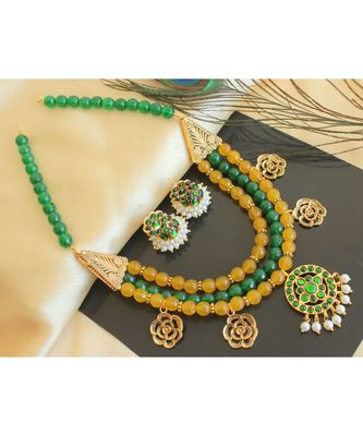 Beautiful Green Yellow Agates Designer Necklace Set