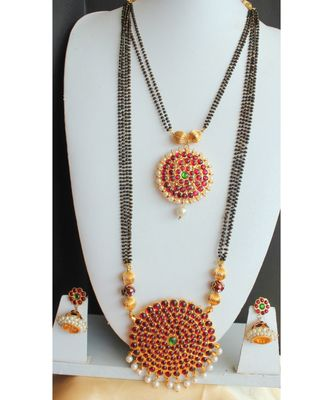 Beautiful Kemp Green Big Pendant Designer Mangalsutra Set