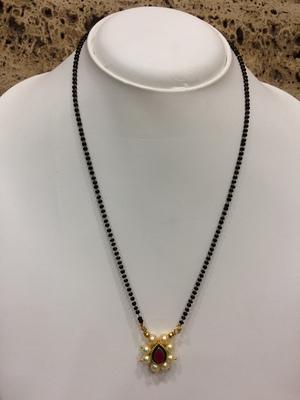 meenakari work red stone Traditional Black Bead Single Line Layer Short Mangalsutra