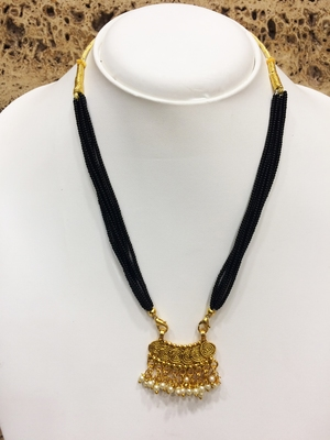 Gold Plated Pendant With White Moti Black Beads 6 Line Layer Adjustable Necklace Form Girls