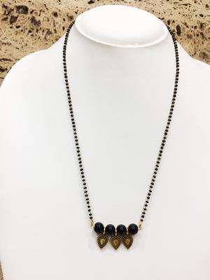Black Moti Pearl Banu Pendant Beads Single Line Layer Mangalsutra Western Stylish Jewellery
