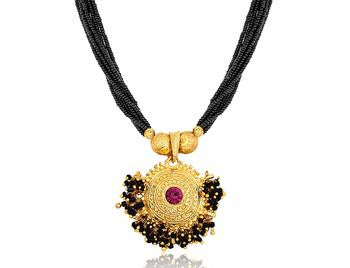 Gold Plated pink stone Pendant with Black Moti Beads 8 Line Layer adjustable Kolhapuri Necklace form girls