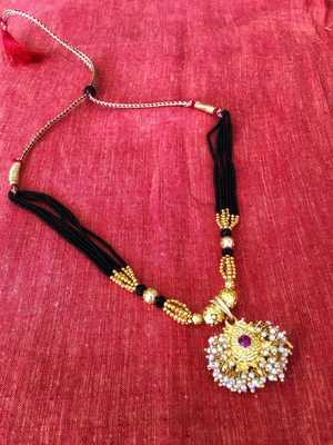Gold Plated pink stone Pendant with Black Moti Beads 6 Line Layer adjustable Kolhapuri Necklace for girls
